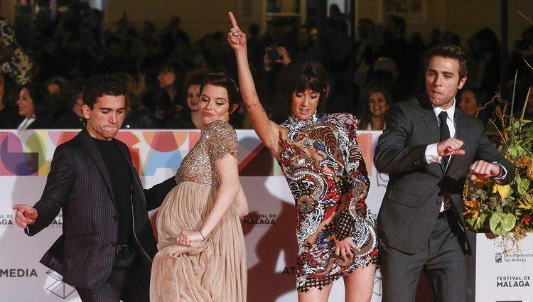María Pedraza, Jaime Llorente, Pol Monen y Andrea Ros en la alfombra roja del Festival Málaga 2019
