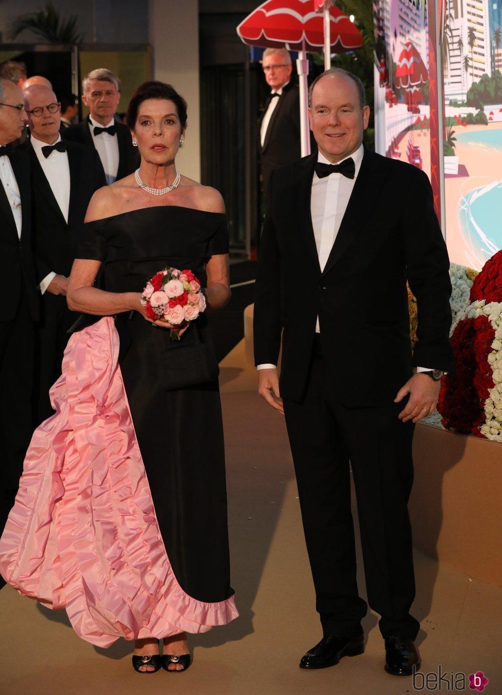 Carolina de Mónaco y Alberto de Mónaco en el Baile de la Rosa 2019
