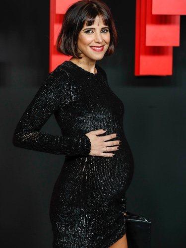 María Luisa Mayol presumiendo de embarazo en la presentación de la sede de Netflix en Europa