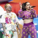 Rosalía y J Balvin actuan juntos sobre el escenario de Coachella 2019