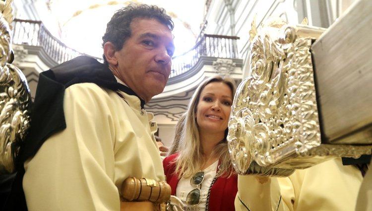 Antonio Banderas y Nicole Kimpel en la cofradía del Domingo de Ramos 2019
