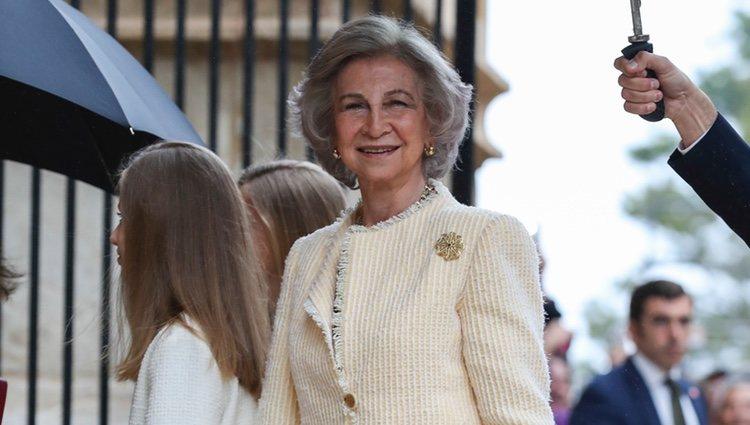 La Reina Sofía acudiendo a la Misa de Pascua 2019