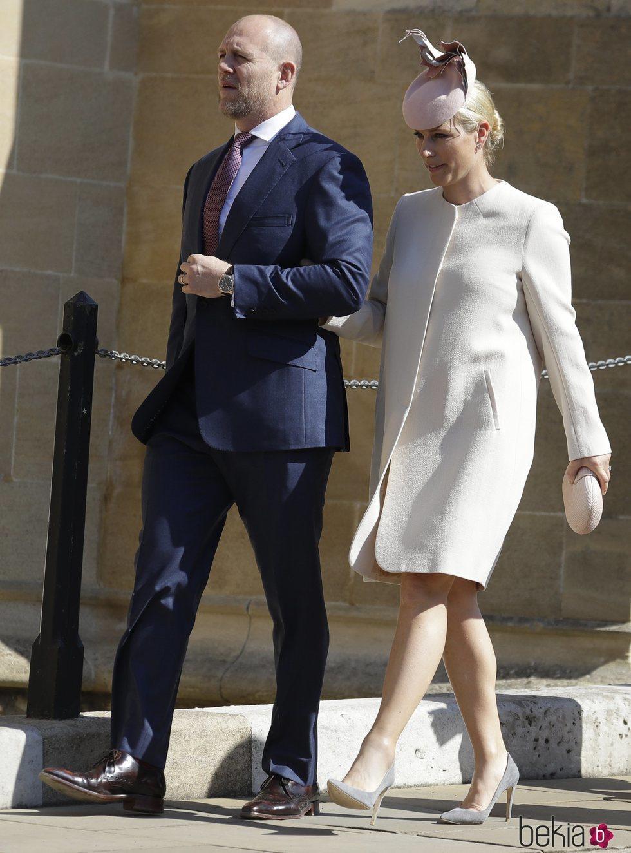 Zara Phillips y Mike Tindall antes de la Misa de Pascua 2019