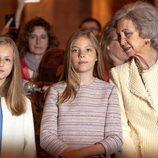 La Reina Sofía con la Princesa Leonor y la Infanta Sofía en la Misa de Pascua 2019