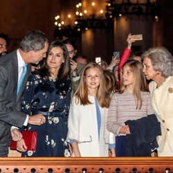 Los Reyes Felipe y Letizia, la Princesa Leonor, la Infanta Sofía y la Reina Sofía en la Misa de Pascua 2019