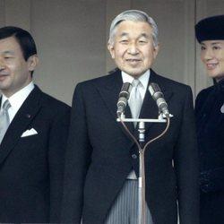 El Emperador Akihito con los Príncipes Naruhito y Masako