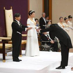 Naruhito de Japón pronuncia su primer discurso como Emperador junto a la Emperatriz Masako