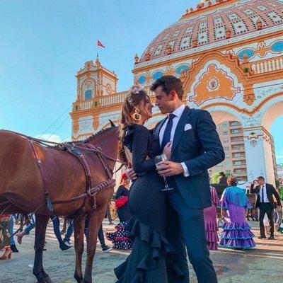 Anita Matamoros y su novio, David Salvador, en la Feria de Abril 2019