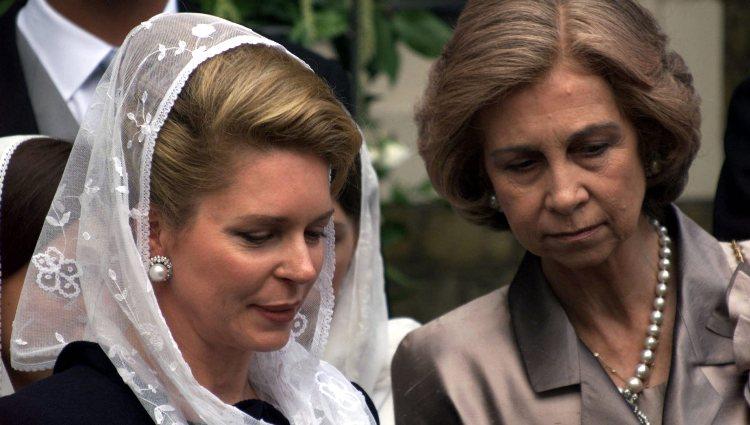 La Reina Sofía y Noor de Jordania en la boda de Alexia de Grecia y Carlos Morales