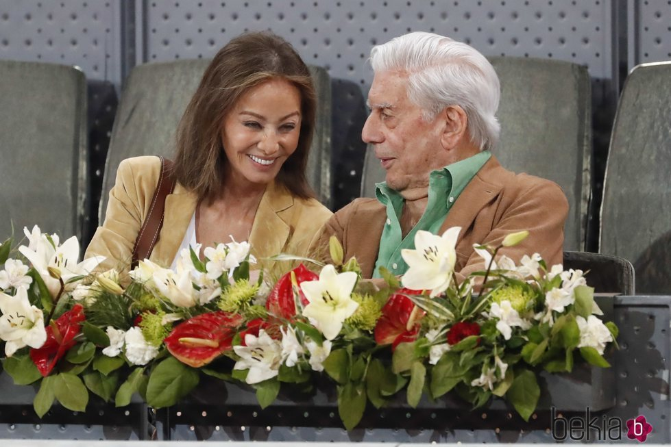 Isabel Preylser y Mario Vargas Llosa en el Madrid Open 2019