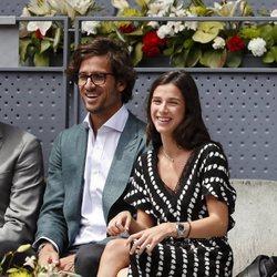 Felicinao López y Sandra Gago, riéndose juntos en el Madrid Open 2019