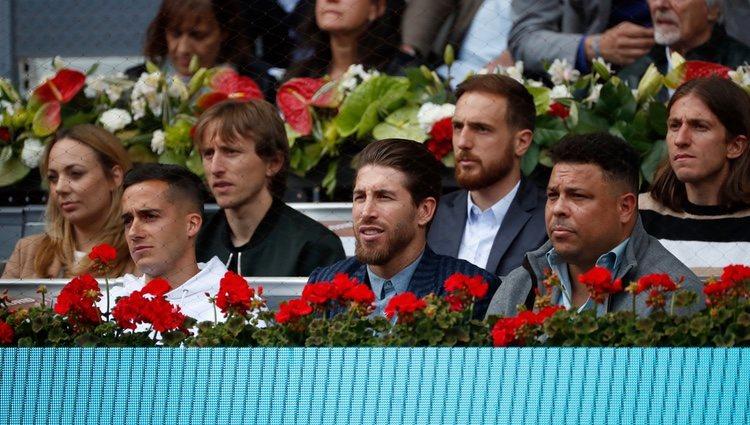 Sergio Ramos, Lucas Vázquez, Ronaldo Nazario, Luka Modric, Jan Oblak y Filipe Luis en el Madrid Open 2019