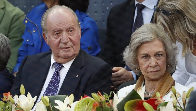Los Reyes Juan Carlos y Sofía presencian un partido en el Mutua Madrid Open 2019