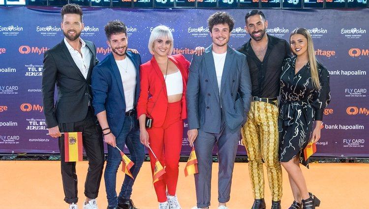 Miki Nuñez y sus bailarines en la presentación del Festival de Eurovisión 2019 en Tel Aviv