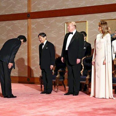 Donald y Melania Trump junto al Emperador Naruhito de Japón y su mujer en la recepción a la cena de Estado