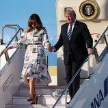 Donald y Melania Trump aterrizan en Japón en su visita de Estado