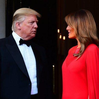 Donald Trump y Melania Trump en la cena de la embajada durante su Viaje de Estado a Reino Unido