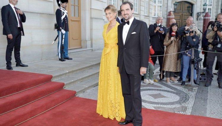 Nicolás de Grecia y Tatiana Blatnik en el 50 cumpleaños de Joaquín de Dinamarca