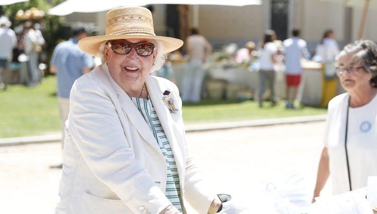 La Infanta Pilar en el mercadillo de la Asociación 'Nuevo Futuro' el 9 de junio de 2019