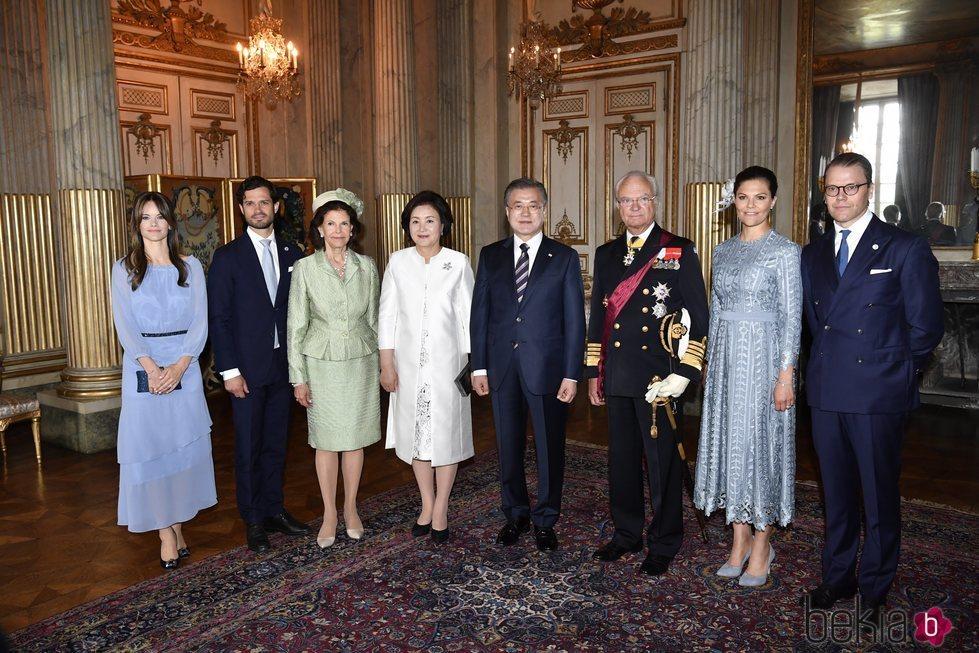La Familia Real Sueca en la recepción oficial al Presidente de Corea del Sur