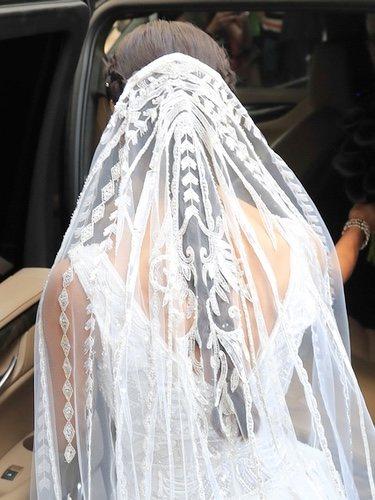 Velo del vestido de novia de Pilar Rubio en su boda con Sergio Ramos