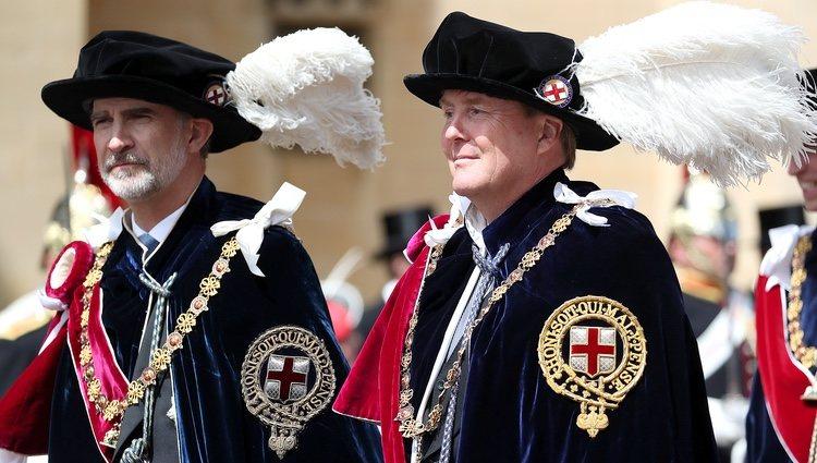 El Rey Felipe y Guillermo Alejandro de Holanda en la procesión de la Orden de la Jarretera 2019