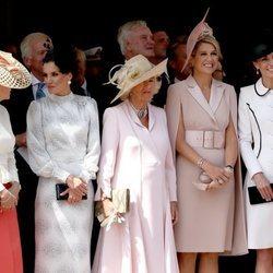 La Reina Letizia y Máxima de Holanda con Camilla Parker, Kate Middleton y Sophie Rhys-Jones en la procesión de la Orden de la Jarretera 2019