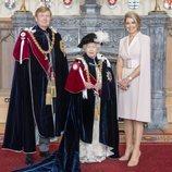 La Reina Isabel con Guillermo Alejandro y Máxima de Holanda en el día de la Orden de la Jarretera 2019