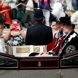Los Reyes Felipe y Letizia con el Príncipe Guillermo y Kate Middleton en la procesión de la Orden de la Jarretera