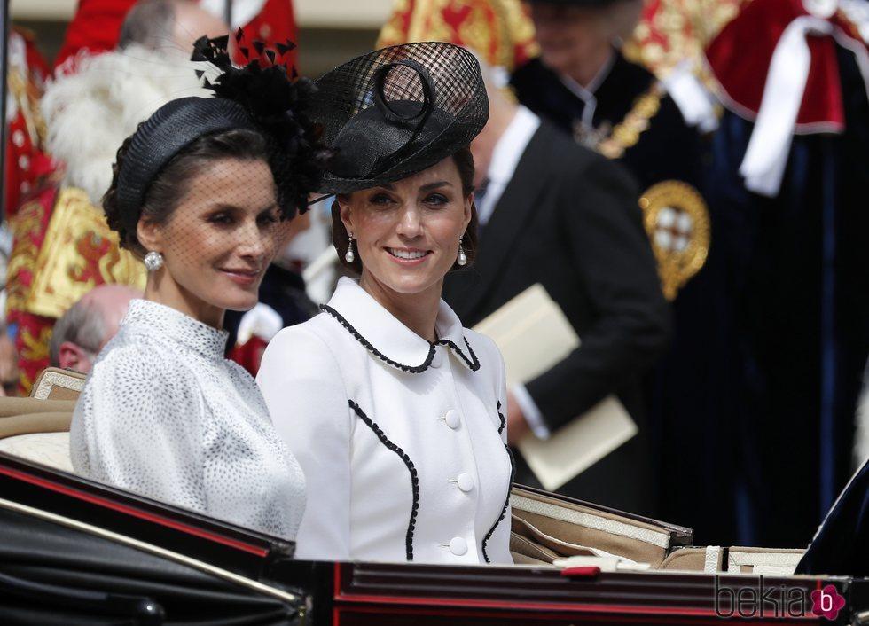 La Reina Letizia y Kate Middleton en la procesión de la Orden de la Jarretera