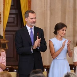 Los Reyes Felipe y Letizia, la Princesa Leonor y la Infanta Sofía en el quinto aniversario de reinado de Felipe VI