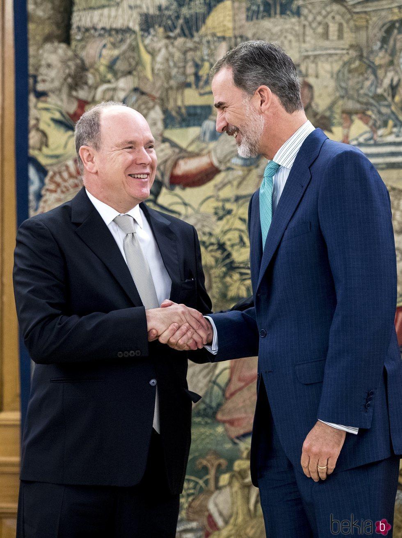 El Rey Felipe VI con Alberto de Mónaco en La Zarzuela