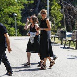 Susanna Grisso en el funeral de su hermana