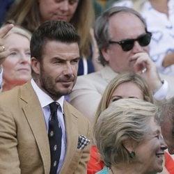 David Beckham durante la semifinal femenina de Wimbledon 2019