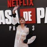 Najwa Nimri en la presentación de la tercera temporada de 'La Casa de Papel'