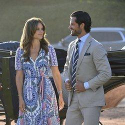 Carlos Felipe de Suecia y Sofia Hellqvist celebrando el 42 cumpleaños de la Princesa Victoria de Suecia