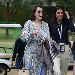Claire Foy llegando a la final de Wimbledon