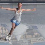 Alexandra de Hannover en una competición de patinaje sobre hielo