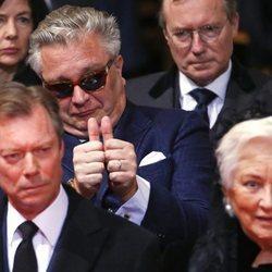 El Príncipe Laurent durante el funeral de la Reina Fabiola de Bélgica