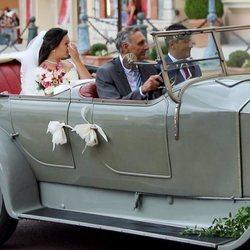 Marie Chevallier llegando a su boda con Louis Ducruet