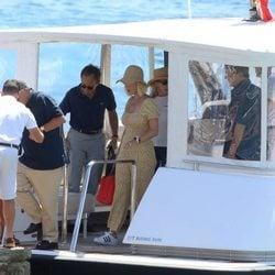 Katy Perry desembarcando en Ibiza