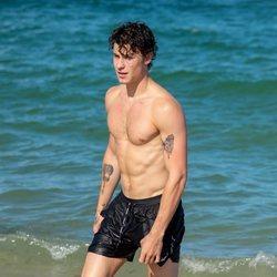 Shawn Mendes con el torso desnudo en Miami Beach