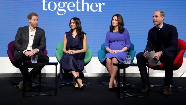 El Príncipe Guillermo y Kate Middleton y el Príncipe Harry y Meghan Markle en el I Forum de la Royal Foundation