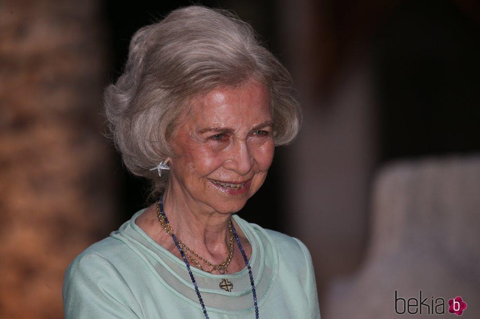 La Reina Sofía en la recepción del Palacio de la Almudaina en Mallorca del verano 2019