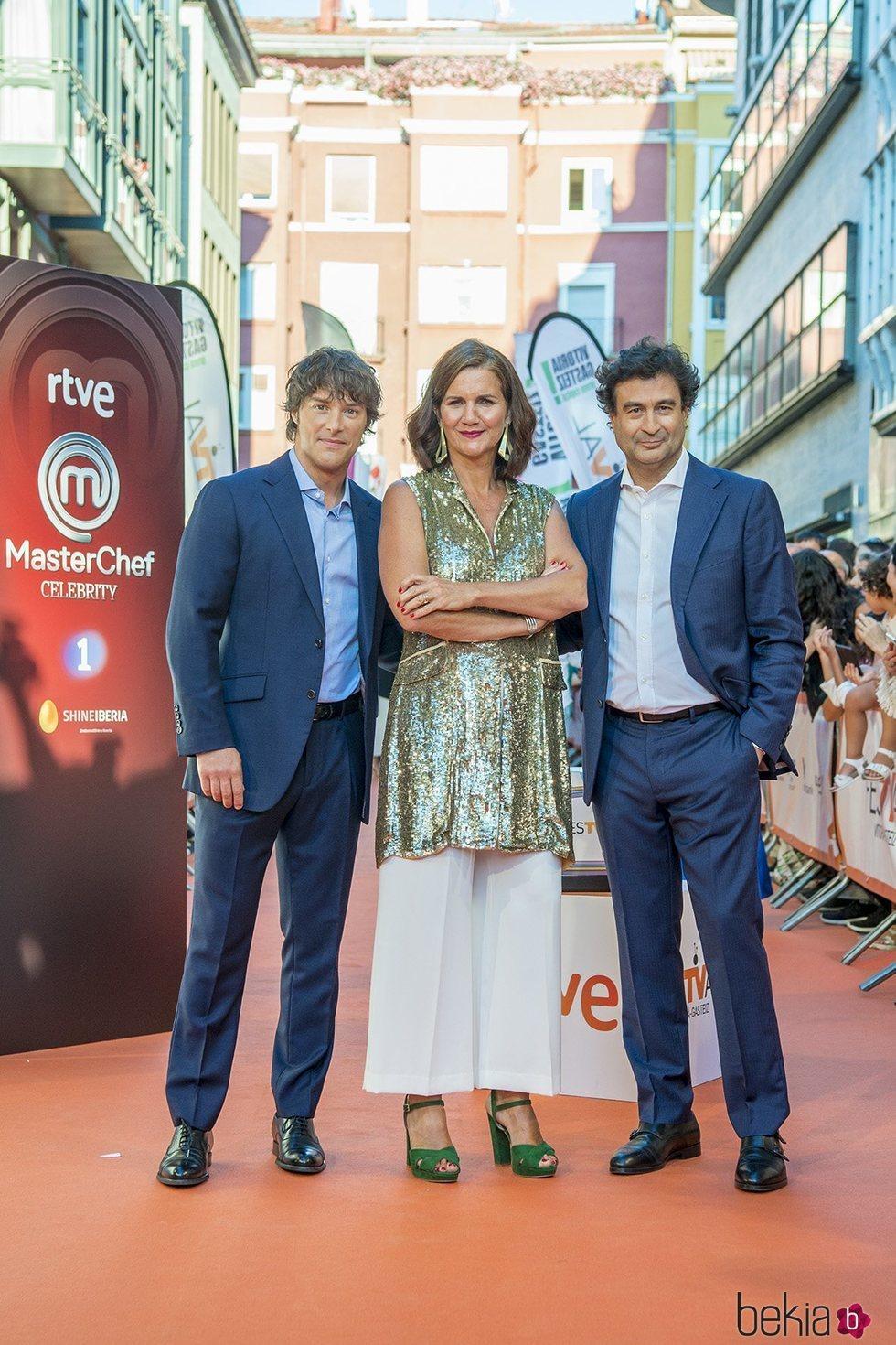 Jordi Cruz, Samantha Vallejo-Nágera y Pepe Rodríguez en la presentación de 'MasterChef' en el FestVal 2019
