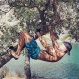 Pablo Alborán subido a un árbol
