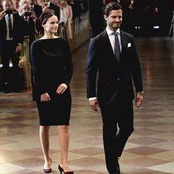 Carlos Felipe de Suecia y Sofia Hellqvist en la apertura del Parlamento 2019