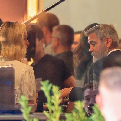 George Clooney y Brie Larson rodando un anuncio en Madrid