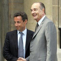Jacques Chirac cuando le pasó el testigo de la Presidencia de Francia a Nicolas Sarkozy