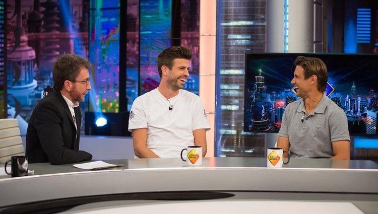 Gerard Piqué y David Ferrer con Pablo Motos en 'El Hormiguero'